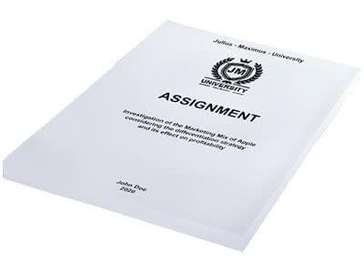 Assignment binding in softcover white