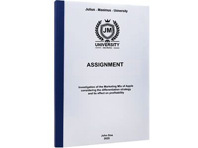 Assignment binding with thermal binding dark blue