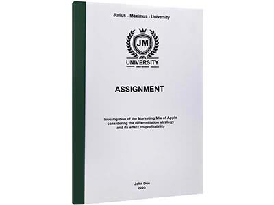 Assignment binding with thermal binding dark green
