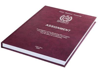 Assignment printing and binding in premium leather binding Bordeaux red