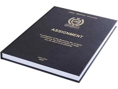 Assignment printing and binding in premium leather binding black