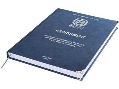 Assignment printing and binding in premium leather binding dark blue