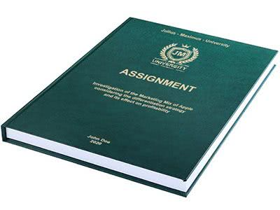 Assignment printing and binding in premium leather binding dark green