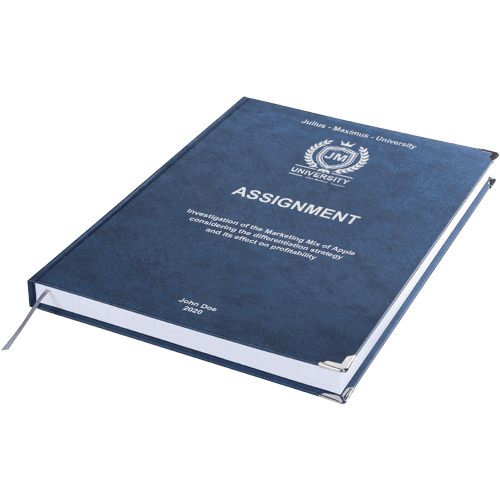 Assignment printing and binding with premium leather binding dark blue horizontal