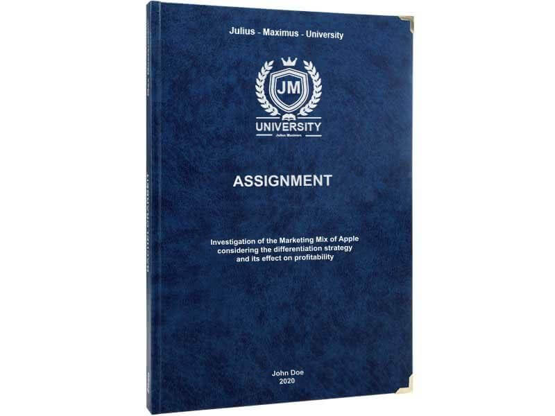 Assignment printing and binding with premium leather binding dark blue