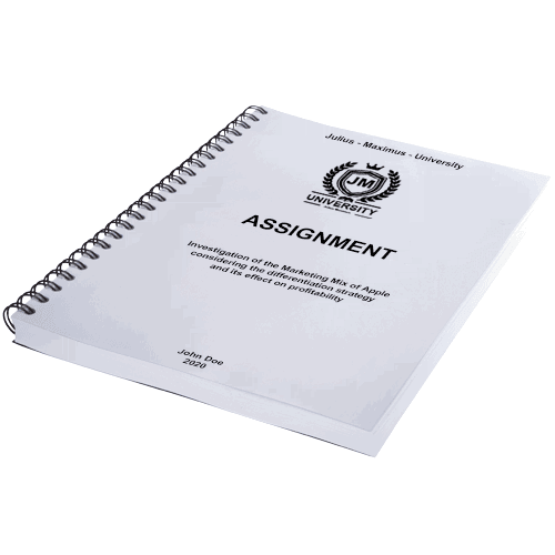 Assignment printing and binding with spiral binding horizontal