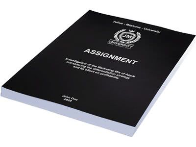 Assignment printing in softcover black