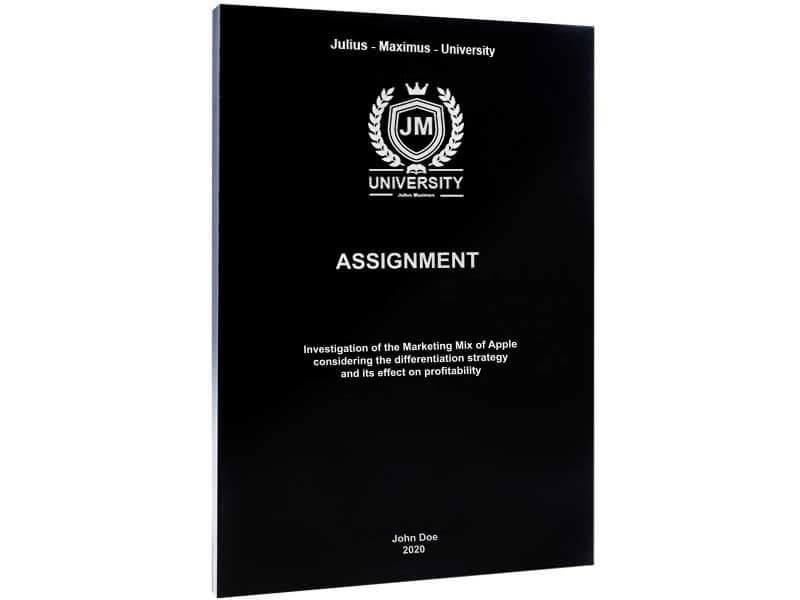 Assignment printing with softcover black