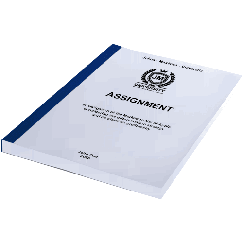 Assignment printing with thermal binding blue horizontal