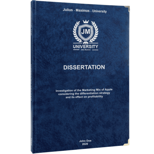 Dissertation printing and binding with premium leather binding in blue