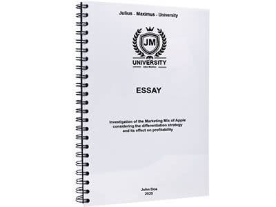 Essay binding with metal spiral binding