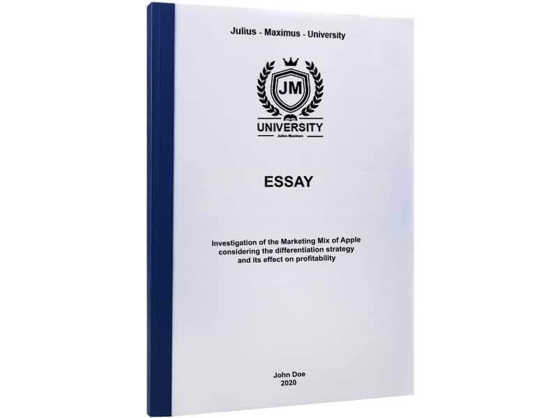 Essay printing with thermal binding blue
