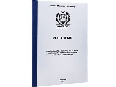 PhD binding with thermal binding dark blue
