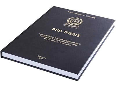 PhD printing and binding in premium leather binding black