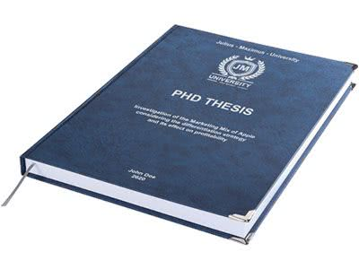 PhD printing and binding in premium leather binding dark blue
