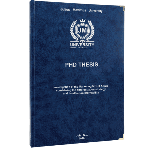 PhD printing and binding with premium leather binding in dark blue