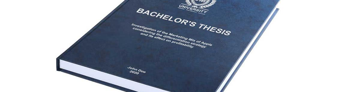 Premium leather binding in blue for your thesis