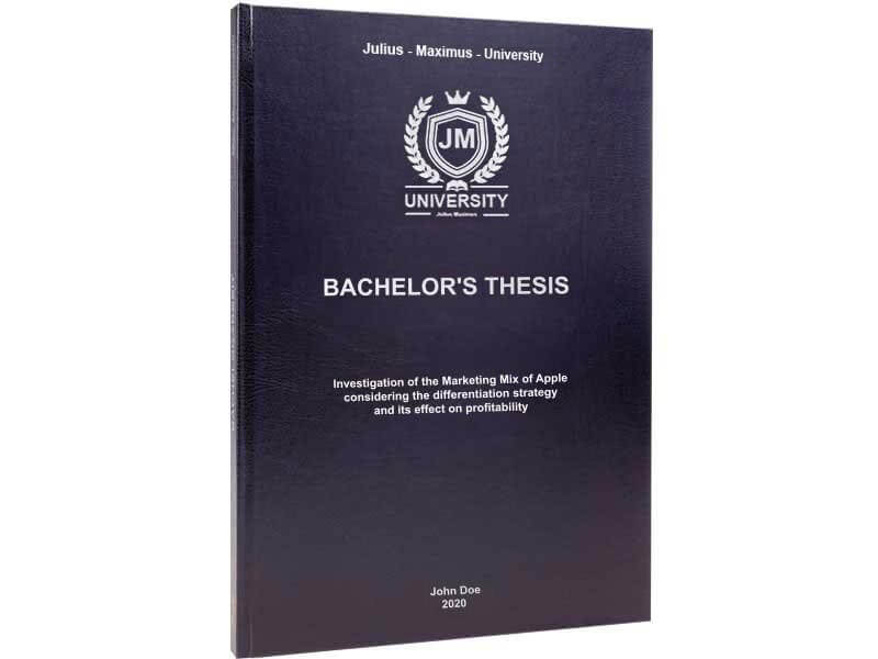 Thesis binding in standard leather binding black