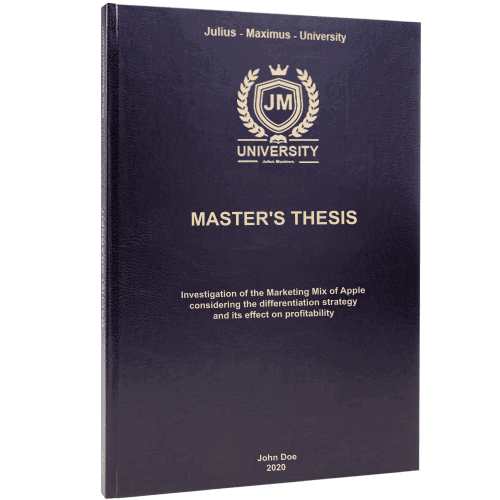 Thesis binding with standard leather binding black