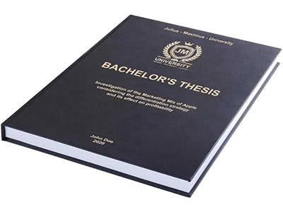 Thesis printing and binding with premium leather binding black