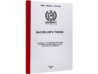 Thesis printing in thermal binding Bordeaux red