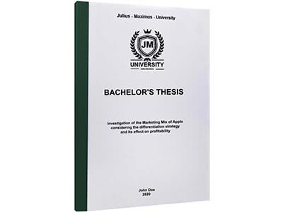 Thesis printing in thermal binding dark green