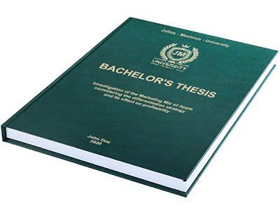 Thesis printing with premium leather binding green