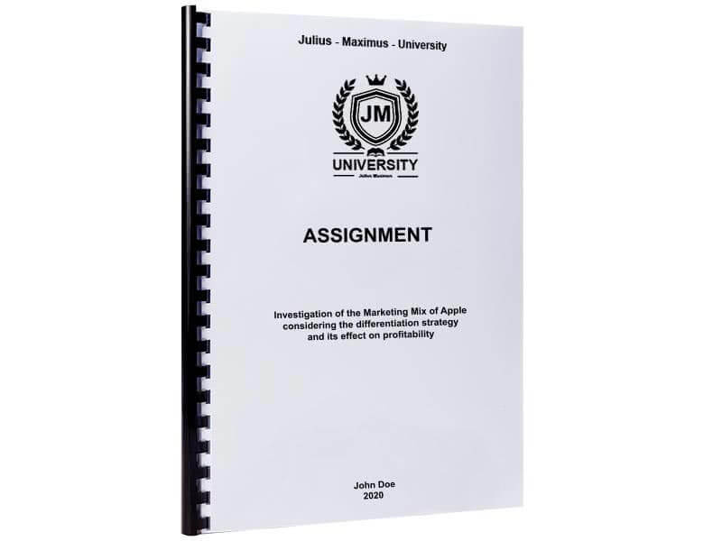 assignment binding with plastic spiral binding