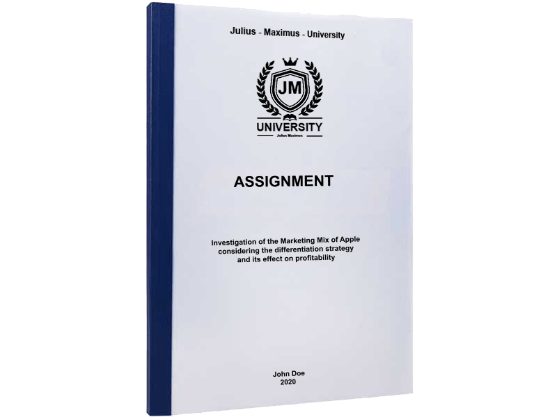 assignment printing thermal binding blue