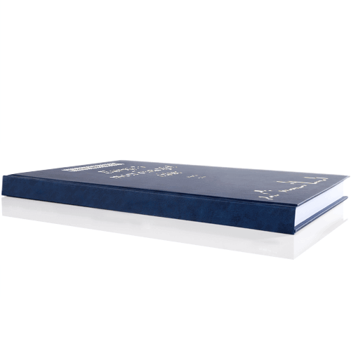 book printing binding premium leather binding blue silver