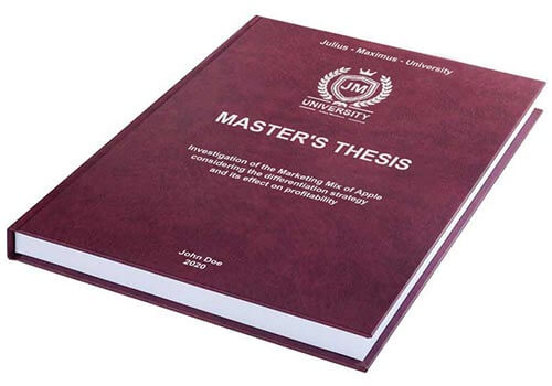 Printing costs for Master's theses Leather binding with embossing