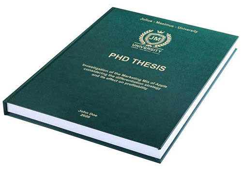 Printing costs for PhD theses Leather binding with embossing