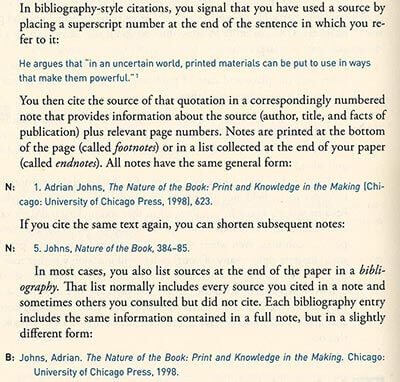 Chicago style citation footnotes