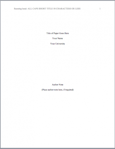Title Page Example APA