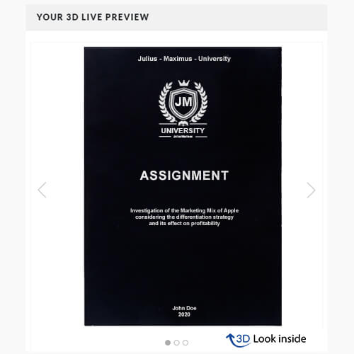 Assignment binding softcover 3d-live-preview