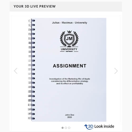 Assignment spiral binding 3d-live-preview
