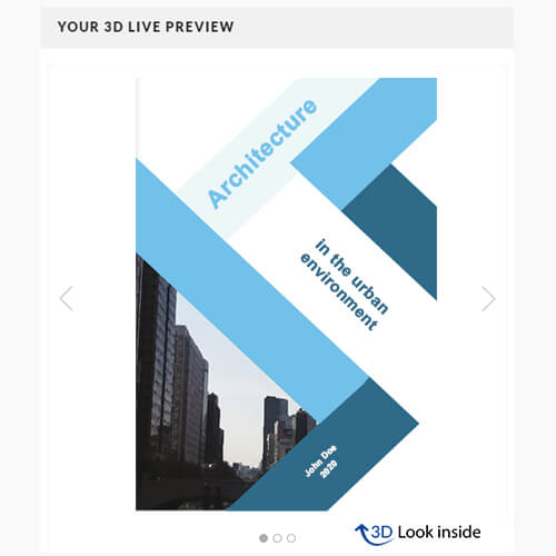 Book printing softcover 3D preview