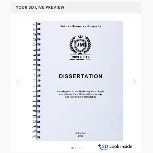 Dissertation wire binding 3d look-inside