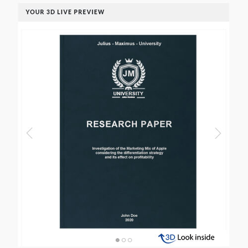 Research premium leather book binding 3d look inside