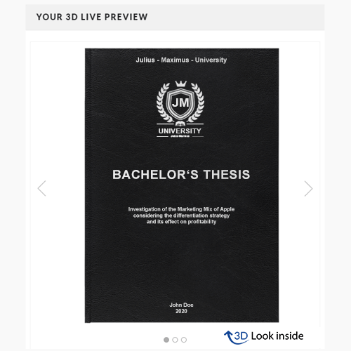 thesis printing 3D preview standard leather book binding